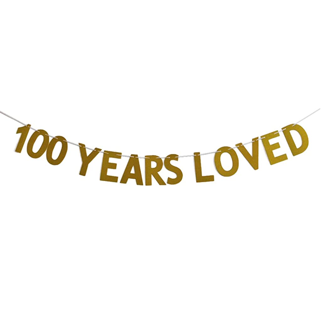 MAGQOO Gold Glitter 100 Years Loved Banner 100th Birthday Wedding Anniversary Party Decorations Photo Props (Gold Glitter)