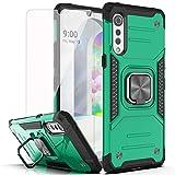YmhxcY case for LG Velvet 5G Case,LG Velvet 5G UW case with HD Screen Protector,Armor Grade Cases with Rotating Holder Kickstand Non-Slip Hybrid Rugged Case for LG Velvet 5G 5.8'-KK Dark Green