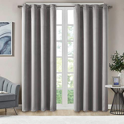 Illuminology Blackout Curtains for Bedroom | Thermal Insulated Room Darkening Window Treatments W/ Grommet Top | Triple Weave | Ideal for Nursery Or Kids Room | Gray 42x84- 2 Panels