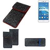 K-S-Trade Handy Schutz Hülle Für Huawei Y7 Dual SIM Schutzhülle Handyhülle Filztasche Pouch Tasche Hülle Sleeve Filzhülle Dunkelgrau Roter Rand