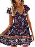 KIRUNDO Women's 2021 Summer Hot Short Sleeve V-Neck High Waist Floral Print Mini Boho Sun Dress with Button(Navy, Medium)