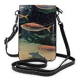 Goxegag Cartera multifuncional de piel para teléfono móvil, bolso de hombro pequeño, bolso de viaje con correa ajustable para mujeres, imagen de acuario