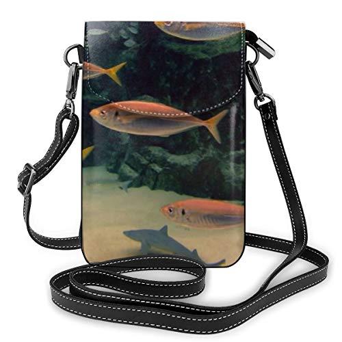 Goxegag Multifunktionale Leder Telefon Geldbörse, Leichte Kleine Schulter Umhängetasche Reisetasche Mit Verstellbarem Gurt Für Frauen-Aquarium Bild