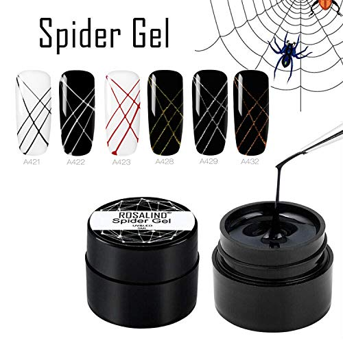 ROSALIND Regala un pincel profesional,Nail Art Spider Gel DIY Design Point To Line Drawing And Painting Decoration Draw Silk Varnish 6 botellas 5ml ……