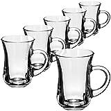 com-four® Bicchiere da tè a 6 pezzi - Bicchieri da bibita con manici - Tazze da caffè resistenti al calore - Tazzine da caffè (140 ml - 06 pezzi)