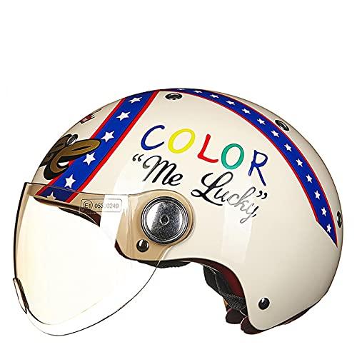 Cascos de motocicleta retro para hombres y mujeres, casco de motocicleta abierto para adultos, casco de motocicleta, certificación ECE/DOT lucky,L