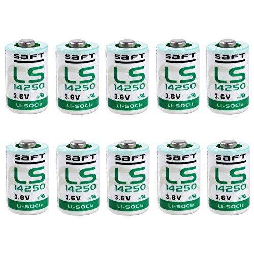 Saft LS14250 1/2 AA Lithium-Thionylchlorid Batterie (3,6V, 10-er Pack) weiß/grün