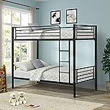 Merax Twin Metal Bunk Bed, Black