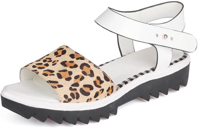 WeenFashion Women's Low Heels Solid Buckle Open Toe Sandals