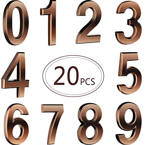 Hotop 20 Pieces Self-adhesive Door House Numbers Mailbox Numbers Street Address Numbers for Mailbox Signs, 0 to 9 (Black)