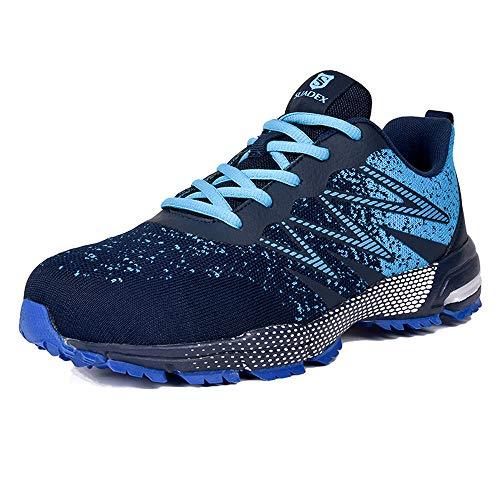 JACKSHIBO Arbeitsschuhe Herren Sicherheitsschuhe S3 Leicht Atmungsaktiv Reflektierende Schutzschuhe Stahlkappe Sneaker (Blau,44EU)