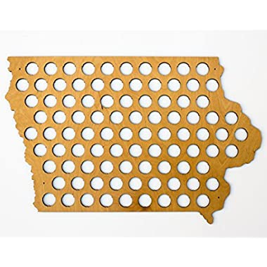 All 50 States Beer Cap Map - Iowa Beer Cap Map IA - Glossy Wood - Skyline Workshop
