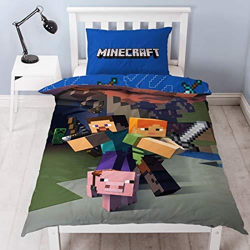 Minecraft – Wendebettwäsche-Set, Polyester-Baumwoll-Mischung, Blau, Einzelbett