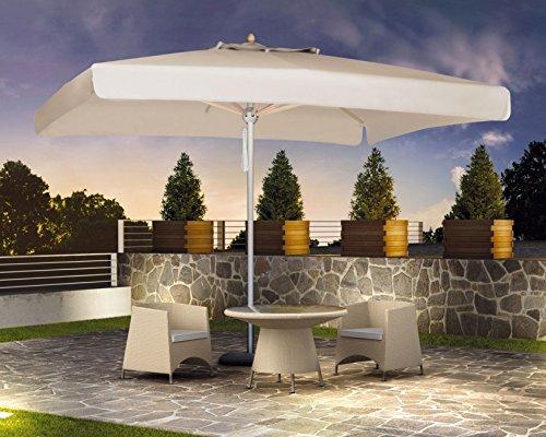 Sonnenschirm–Milano Quadratisch 3,5x 3,5m Acryl Dralon 350g/m2+ Fuß aus lackiertem Stahl Grau–35kg Ecru A1