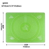 XHYRB ベーキングマット食品グレードシリコーンノンスティックベーキングマットは、パッドフォンダンペストリー生地高温の調理道具、余分なラーグでオーブン ケーキデコレーションデザートモールド (Color : 50x40 green)