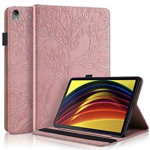 CRABOT Funda Samsung Galaxy Tab S5e SM T720/T725 10.5' 2019 Tablet Cover Case Anti-caída Resistente a Rayones Ranura Tarjeta Billetera Cubierta Protectora Arbol de la Vida -Oro Rosa