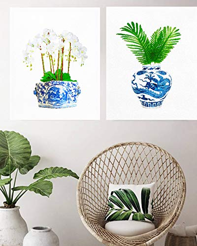 Chinoiserie Vase Glam Peonies Flowers Wall Art Poster Print Watercolor Oriental Vase Blue White Willow Style -  OMGPOPART