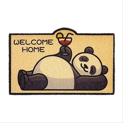 Dihge Felpudo de dibujos animados para casa, baño, salón, entrada, suelo, escaleras, cocina, dormitorio, pasillo, PVC, antideslizante, 40 x 60 cm, panda