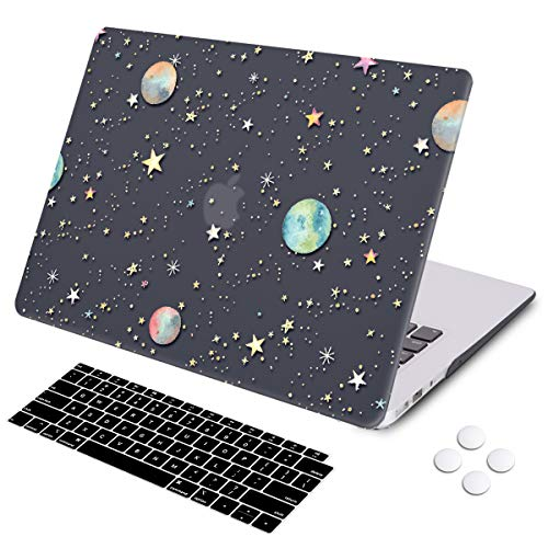 MacBook Air 13 inch Case, DQQH Rubber Coated Ultra Thin Protective Hard Shell Cover+Keyboard Cover for Older Version MacBook Air 13 inch Model A1369/A1466 Before 2018- Starry Night