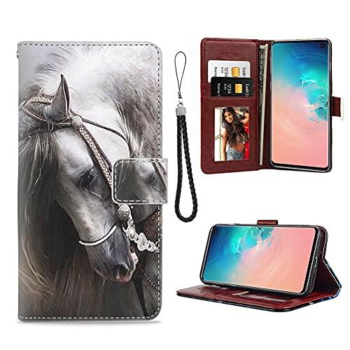 xtlxr Funda tipo cartera para Samsung Galaxy S10+ (Galaxy S10+) con diseño de caballo guapo ranura para tarjeta de crédito, correa de muñeca con hebilla magnética para niñas y mujeres