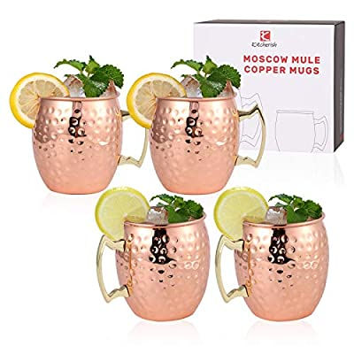 Amazon - 10% Off on Moscow Mule Mug Set of 4, 18oz, [Gift Set] 100% Hammered Cup Pure