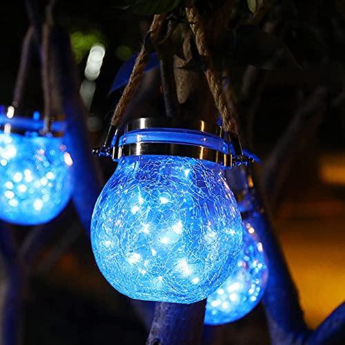Farol solar, lámpara de tarro de mason, impermeable, luces LED, para colgar, tarro de cristal, para jardín, balcón, patio, decoración de camino (azul 1 unidad)