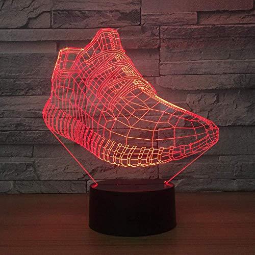 Luz nocturna 3D ilusión luz nocturna forma de zapato 7 colores con control remoto se pueden decorar para regalos de cumpleaños de niños Luz nocturna visual LED