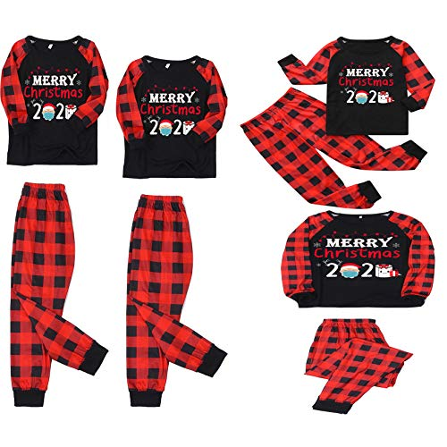 Family Christmas Pjs Matching Sets Baby Christmas Matching Jammies for Adults and Kids Holiday Xmas Sleepwear Set (D Style, Mom/ L)