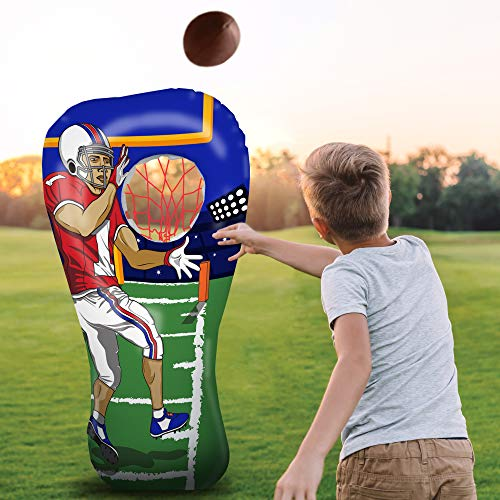Inflatable Football Toss Target Party Game, Sports Toys Gear and Gifts for Kids Boys Girls and Family