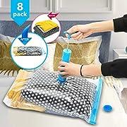 Vakuumbeutel 8 tlg Set/2 Größen Vakuum Aufbewahrungsbeutel Anti-Zerreißen Vakuumtüten für Kleidung Bettwäsche Bettdecken Textilien Reise mit Handpumpe