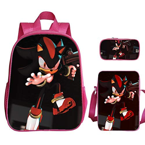 min min Sonic School Bag 16-inch Lightning Mouse Sonic Schoolbag Large-capacity pencil case One-shoulder messenger supplementary school bag 3 pieces/set