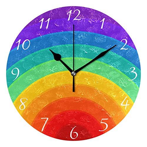 Ahomy Regenbogen-Wanduhr, bunte Ziffern, 24 cm, runde Uhr, geräuschlos, batteriebetrieben, leicht zu lesen, für Zuhause, Büro, Schule