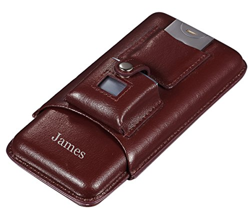 Personalized Visol Renly Brown Leather Cigar Case with Lighter and Cutter with Free Laser Engraving