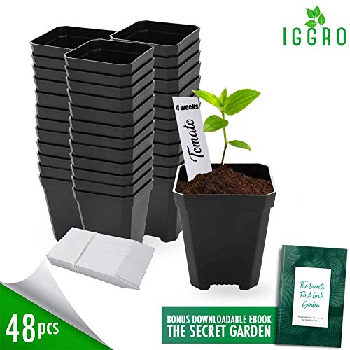 48 pcs Plastic Nursery Pot for Plants 2.75' Square x 3.25' Seed Starting/Transplant Plant Containers for Tomatoes Basil Peppers Mint with 48 Label Markers and Drain Holes for Germination with Ebook