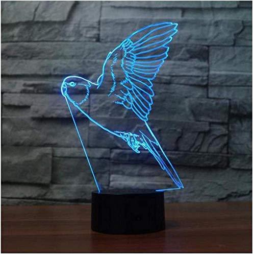 YOUPING Luz de noche LED para niños 7 cambio de color remoto interruptor USB 3D luz nocturna pájaro creativo 3D luz LED USB lámpara