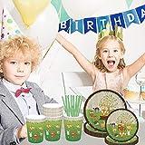 Amycute 69 -teiliges Kindergeburtstag Deko Set - Tiere Teller Becher Servietten Tischdeko für Geburtstag Kindergeburtstag Mottoparty, Tischdeko Partygeschirr Set für 8 Personen. - 8