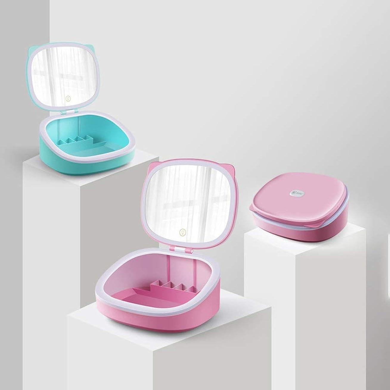 アコー自治サミュエル流行の LEDライト化粧鏡収納猫美容鏡卓上鏡多機能光ABSピンクブルーを調整することができます (色 : Pink)