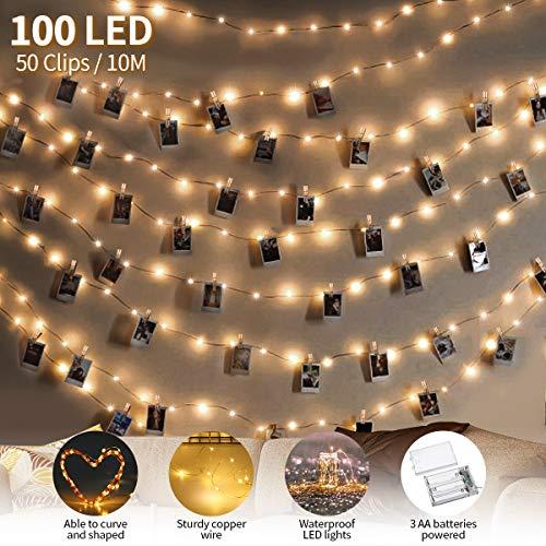 king do way LED Fotoclips Lichterkette für Zimmer Deko, 10M LED Foto Clip Lichterkette, 3 Modi Warmweiß Lichterkette mit 50 Einstellbare klammern & 10 Nägeln, für Weihnachten, Hochzeit, Party