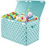 Kids Large Toy Chest with Flip-Top Lid, Decorative Holders Collapsible Storage Box Container Bins for Nursery, Playroom, Closet, Home Organization, 24.5'x13' x16' (Blue)