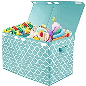 Kids Large Toy Chest Box with Flip-Top Lid, Decorative Holders Collapsible Storage Bins Container for Nursery, Playroom, Closet, Home Organization, 24.5″x13″ x16″ (Blue)