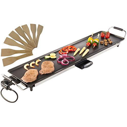 VonShef XXL Teppanyaki Grill - Electric BBQ Table Top Grill with Adjustable Temperature Control and 8 Spatulas - 2000W