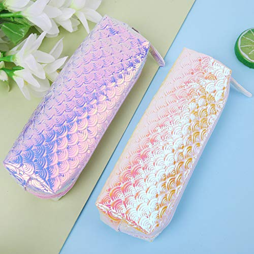 Chris.W 2Pack Holographic Mermaid Pencil Case Pen Bag Makeup Pouch Cosmetic Bag, Fish Scale Pen Case for Mermaid Party Decorations(Pink/Yellow)