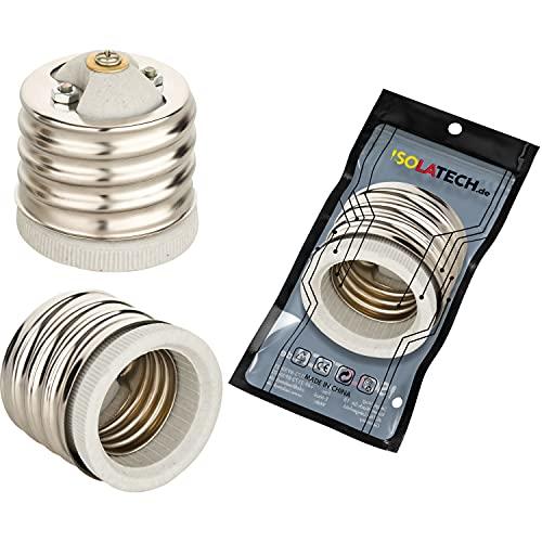 Adaptador de casquillo E40 a E27 para bombillas E27 y casquillo E40 RoHS hasta 250 V y 4 A de Isolatech (1 unidad).