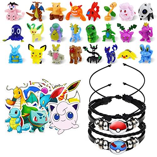 Lunriwis Juego de Juguetes de Pokémon de Pokémon, 24 Unidades de Minifiguras de Pokémon, 2 Pulsera Trenzada de Pokemon, 50 Unidades de Pegatinas de Pokémon para niños, Regalo de Fiesta