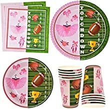 """Tutus or Touchdowns Gender Reveal Party Supplies Tableware Set 24 9"""" Plates 24 7"""" Plate 24 9 Oz Cups 50 Lunch Napkins for ..."""