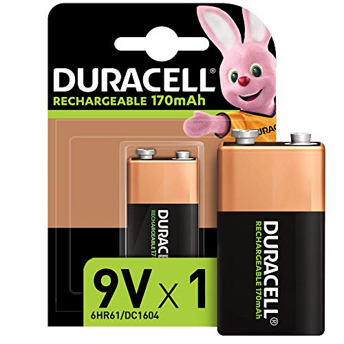 Duracell Rechargeable 9V 170 mAh Battery, Pack of 1