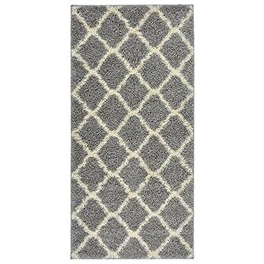 Moroccan Trellis Shag Area Rug Rugs New Shaggy Collection (Grey, 3'3 x10' Runner)