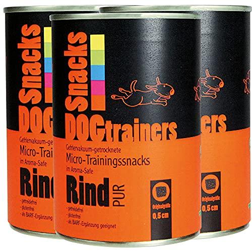 Schecker DOGTRAINERS Rind PUR 3 x 160g - getreidefrei - glutenfrei - als Barf Ergänzung geeignet 100% Rind