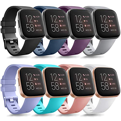 Tobfit Sport Bands Compatible with Versa/Versa Lite/SE, Soft TPU Wristbands Accessories for Women Men, Black/Blue/Purple/Grey/Lavender/Pink/Teal/White, Small