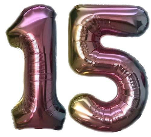 TopTen Folienballon Zahl 15 Bunt XL ca. 72 cm hoch - Zahlenballon / Luftballon für Geburstagsparty, Jubiläum oder sonstige feierliche Anlässe (Nummer 15)